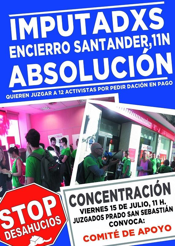 Concentracion viernes 15 julio en Juzgados del Prado de San Sebastián