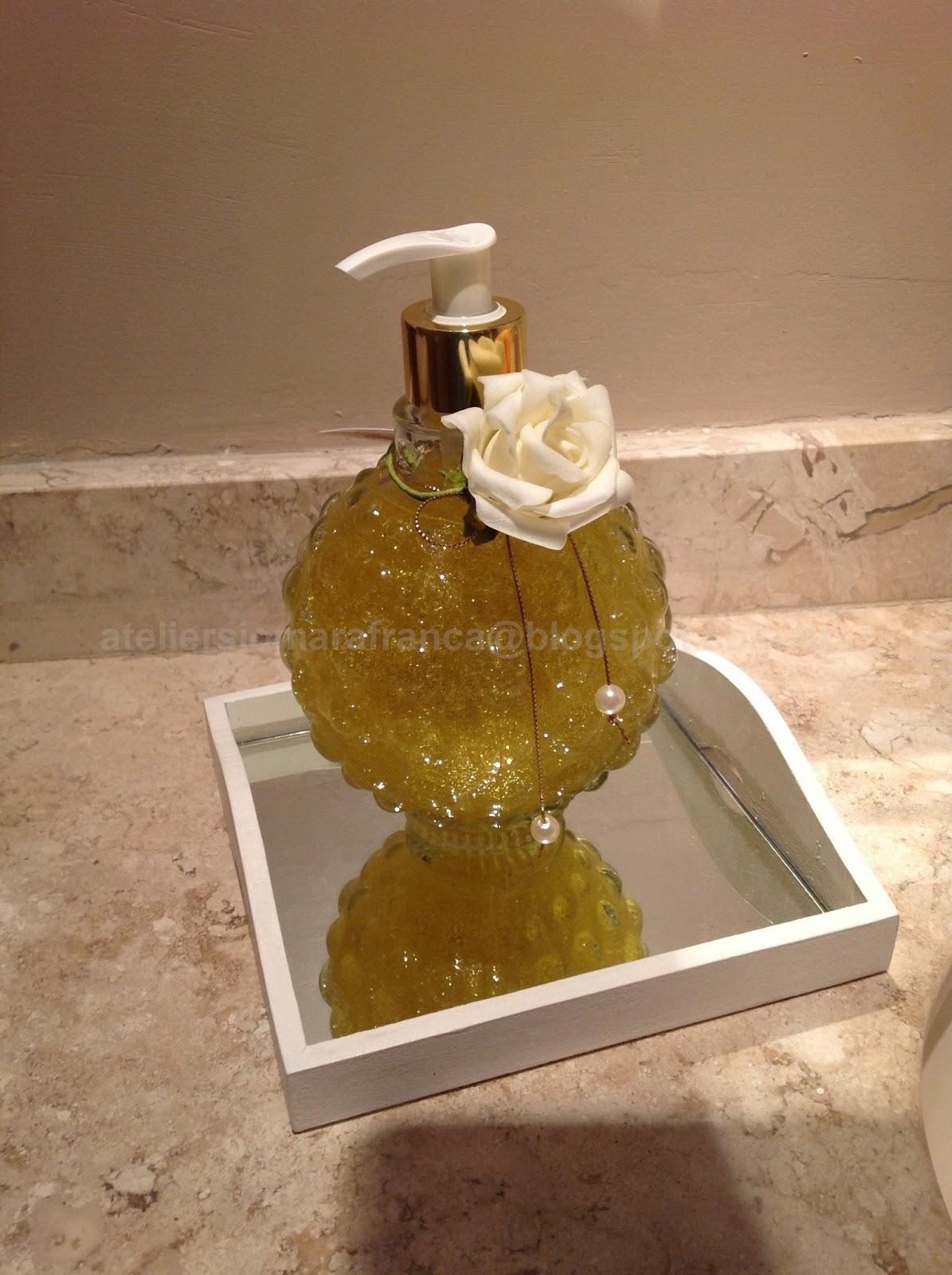 Sabonete Líquido com glíter em vidro 600ml decorado com rosa  #A36828 1195 1600