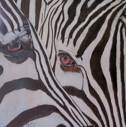 """""""Double Trouble"""",  two zebras up-close portrait"""