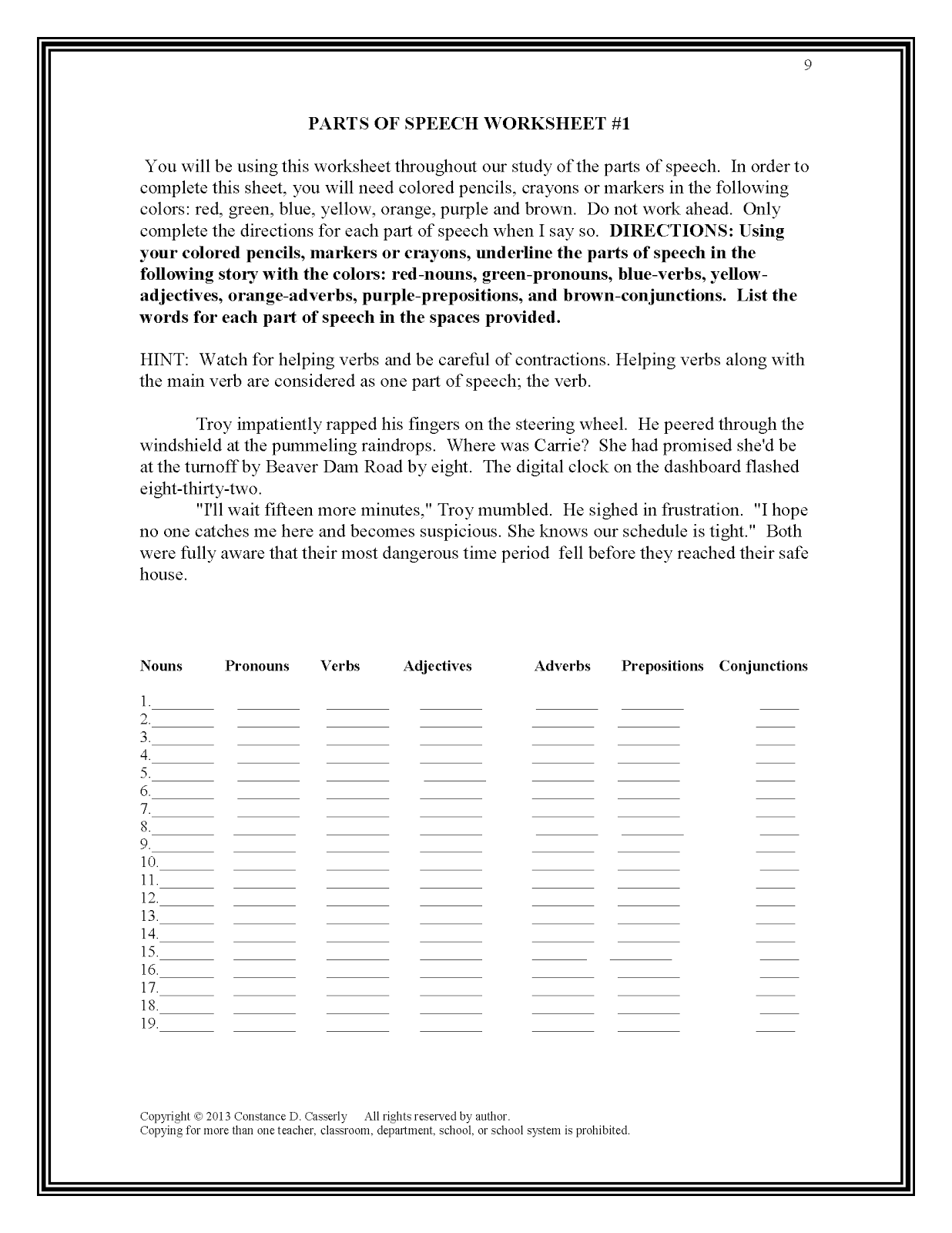 Worksheets Parts Of Speech Worksheets Middle School teach it write may 2013 middle and high school ela lesson plans parts of speech activity