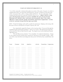 Middle and High School ELA Lesson Plans- Parts of Speech activity