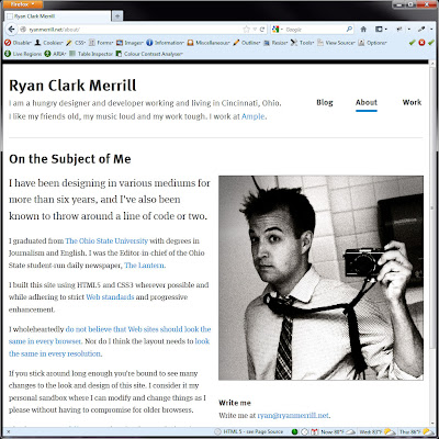 Screen shot of http://ryanmerrill.net/about/.