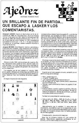 Crónica partida de ajedrez Lasker-Mieses