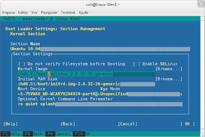 Adição do Ubuntu no GRUB - Yast