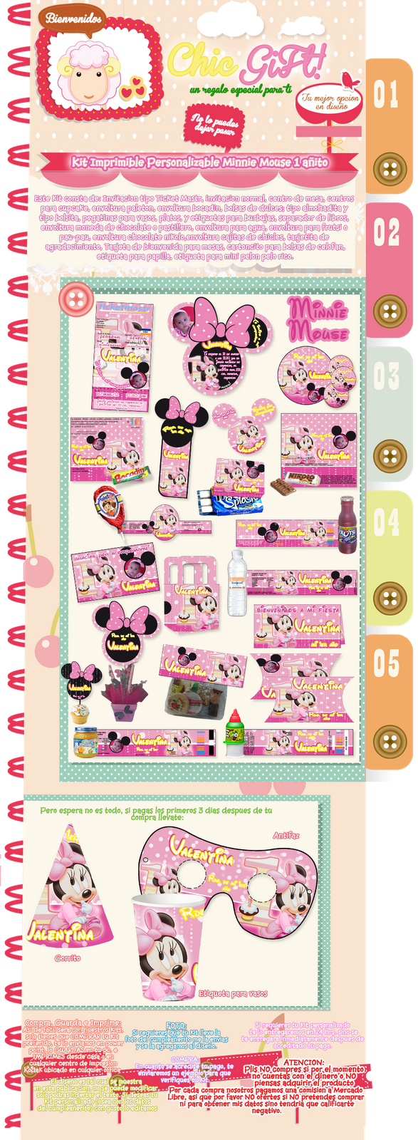Kit Imprimible Personalizable Minnie Mouse 1 Año, Mimi 1 Año ...