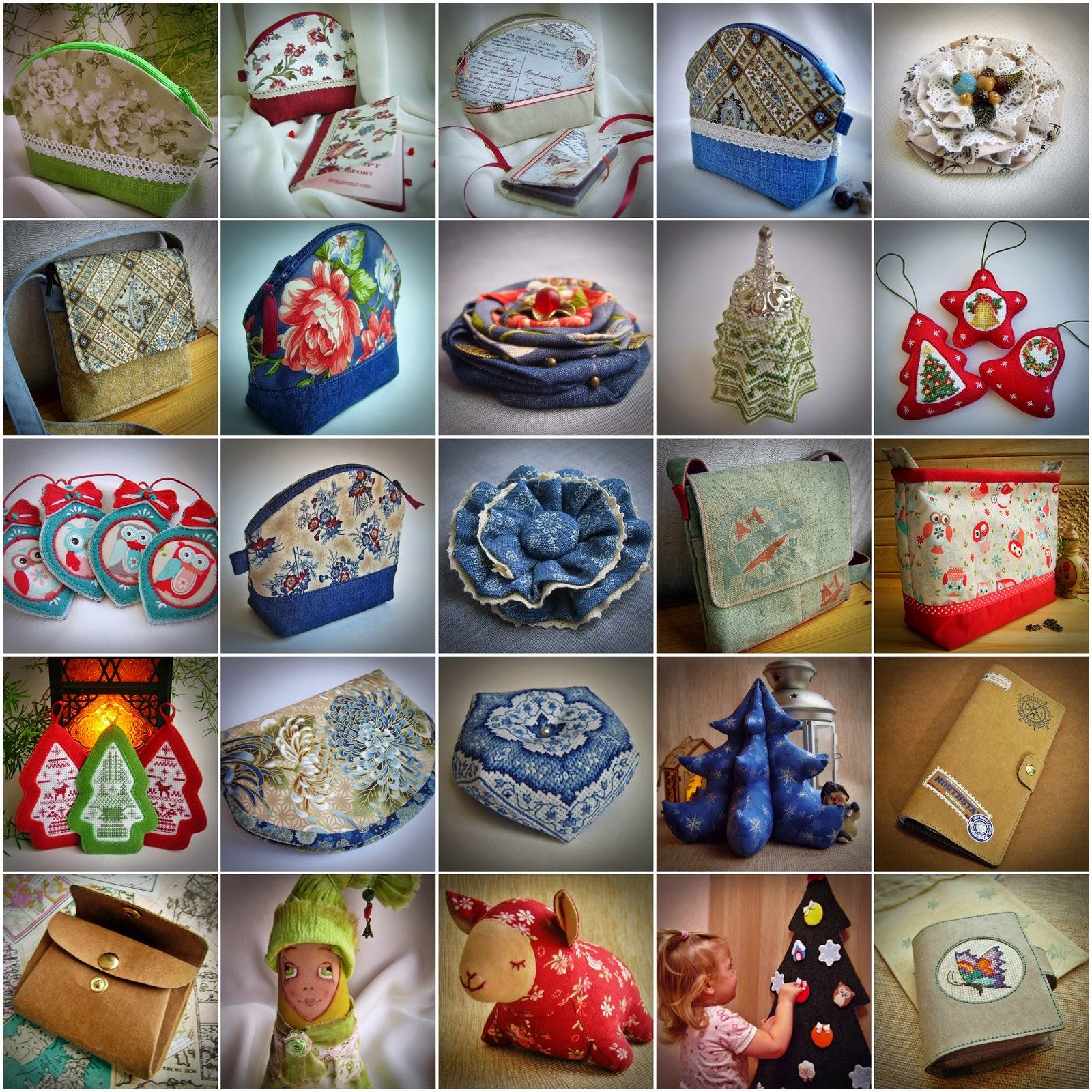 Коллаж handmade. Косметички, сумки, броши, елочные игрушки, интерьерные украшения