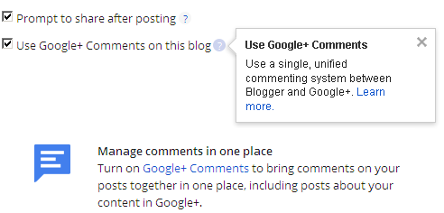 Enable Google+ Comments to Blogger Account