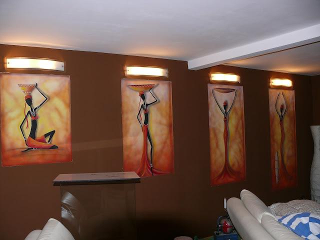 Aranżacja salonu w afrykańskim stylu, malarstwo afrykańskie