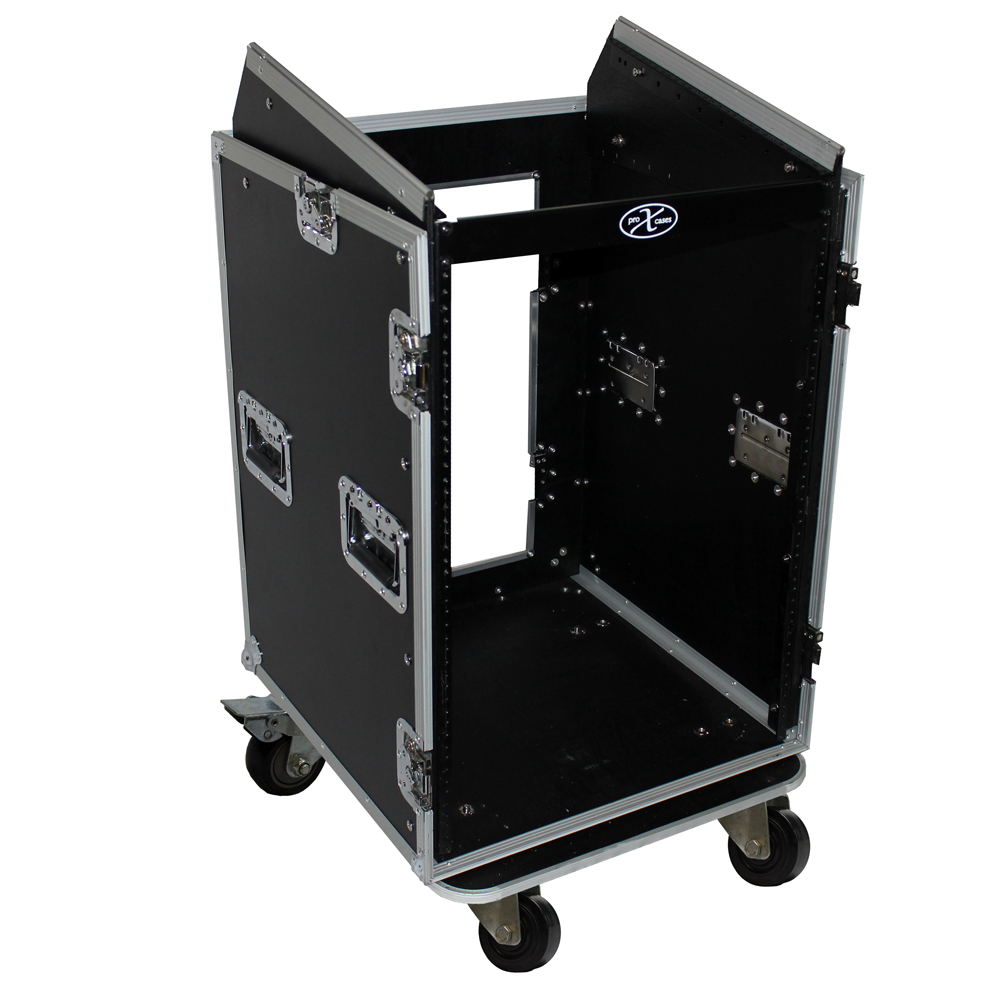 pro x cases 16 space amp rack 10 slanted top 16u 10u. Black Bedroom Furniture Sets. Home Design Ideas