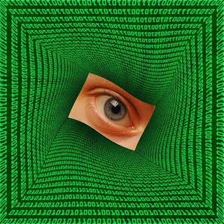 Image of an eye inside computer codes.