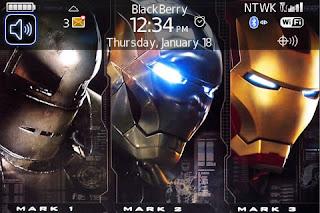 Tema Iron Man untuk BB Gemini Curve 8520
