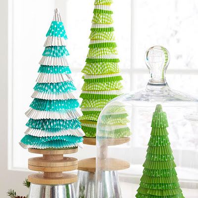 Make a Table Top Christmas Tree with Cupcake Liners