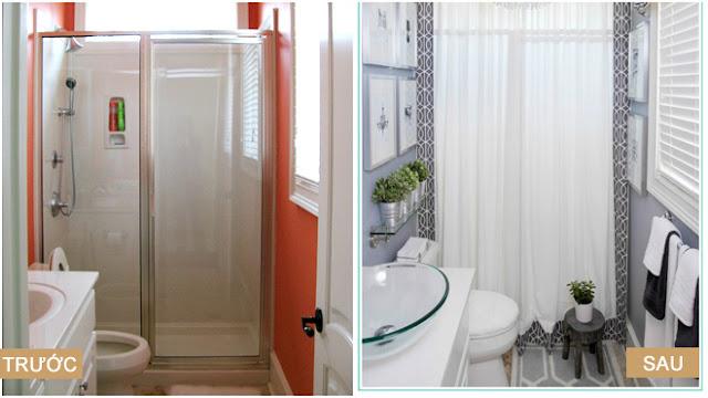 Phòng tắm hẹp, thiếu sáng lại gây bức bối bởi màu sơn tường chói lọi đã biến mất. Không gian mới sáng sủa, nhẹ nhàng hơn lại có thêm cả chỗ treo khăn, treo tranh và bày cây xanh.