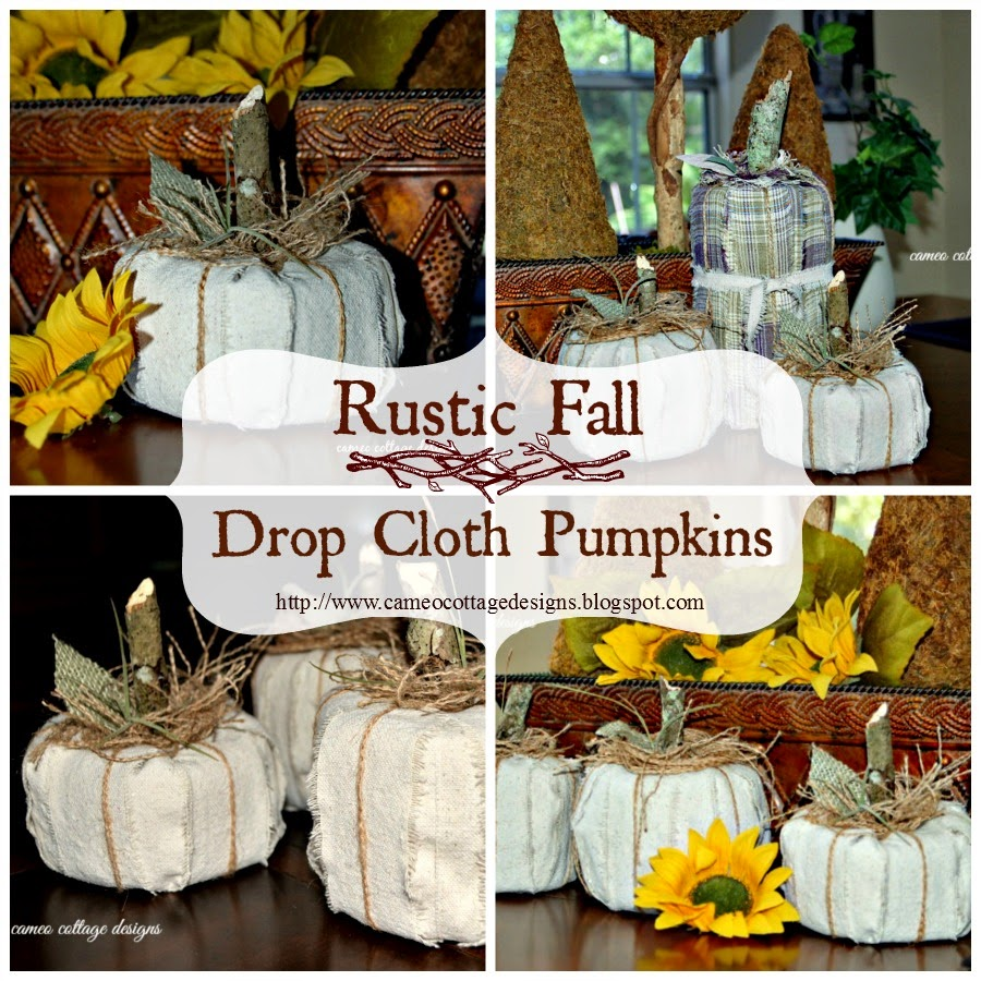White Rustic Drop Cloth Pumpkins