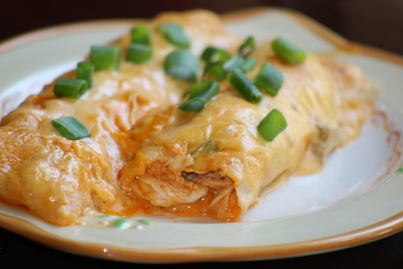 Paper Plates and China: Buffalo Chicken Enchiladas