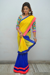 Shilpa Chakravarthy in Lovely Blue Saree with Yellow Pallu and Multi Color Blouse Spicy Look
