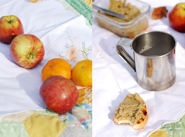 manzanas, mandarinas y tostada de paté de berenjenas