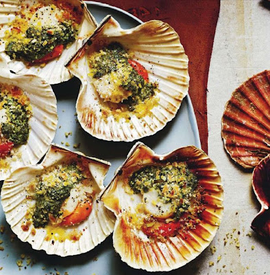 Grilled scallops with anchovy, mint and coriander