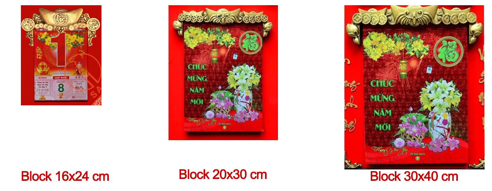 3 kích thước block lịch cho Lịch Phù Điêu
