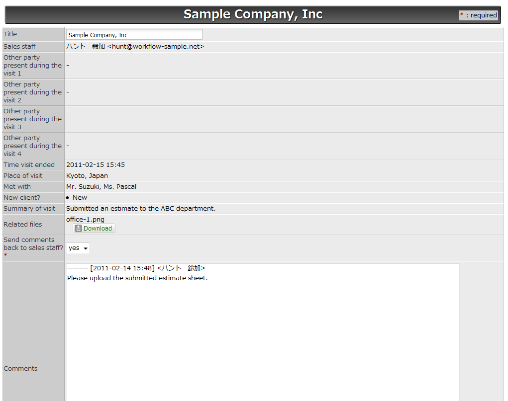 Workflow Sample: Reporting Each Client Visit Right After Returning ...