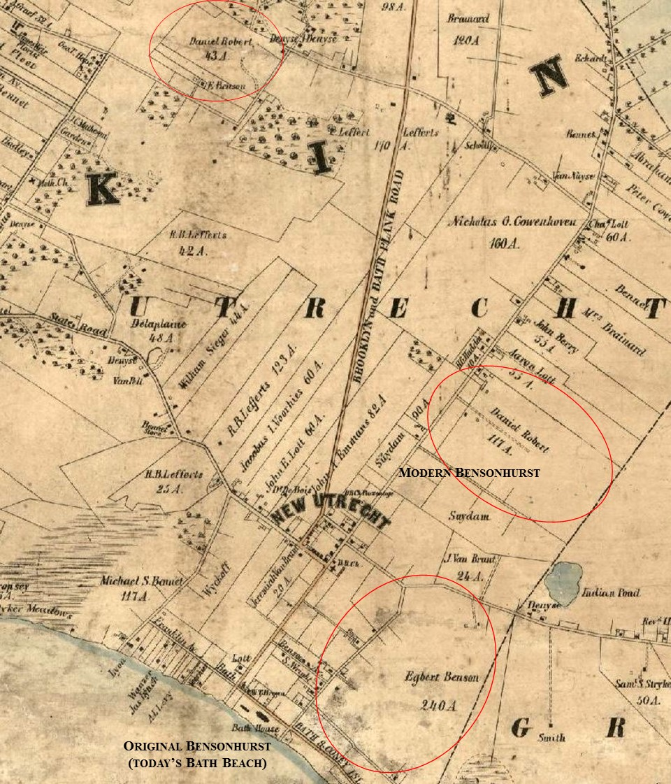 portion of the 1852 map of kings and queens counties published by m dripps circled are the egbert benson property that would become the largest portion of
