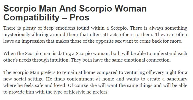 Scorpio male and scorpio female compatibility