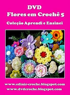 dvd flores 5 volumes com edinir-croche nas loja curso de croche com  frete gratis