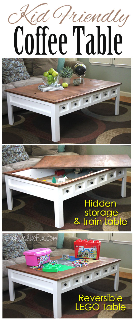 Apothecary Style Coffee Table with Hidden LEGO and Train Play Areas ...
