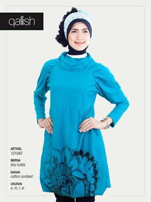 Koleksi Qallish Busana Muslim Biru Turkis