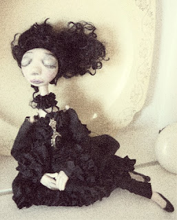 black Victorian mourning dress memento mori art doll OOAK