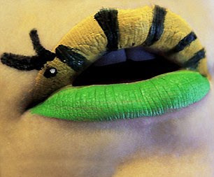 Caterpillar Painting On Lips