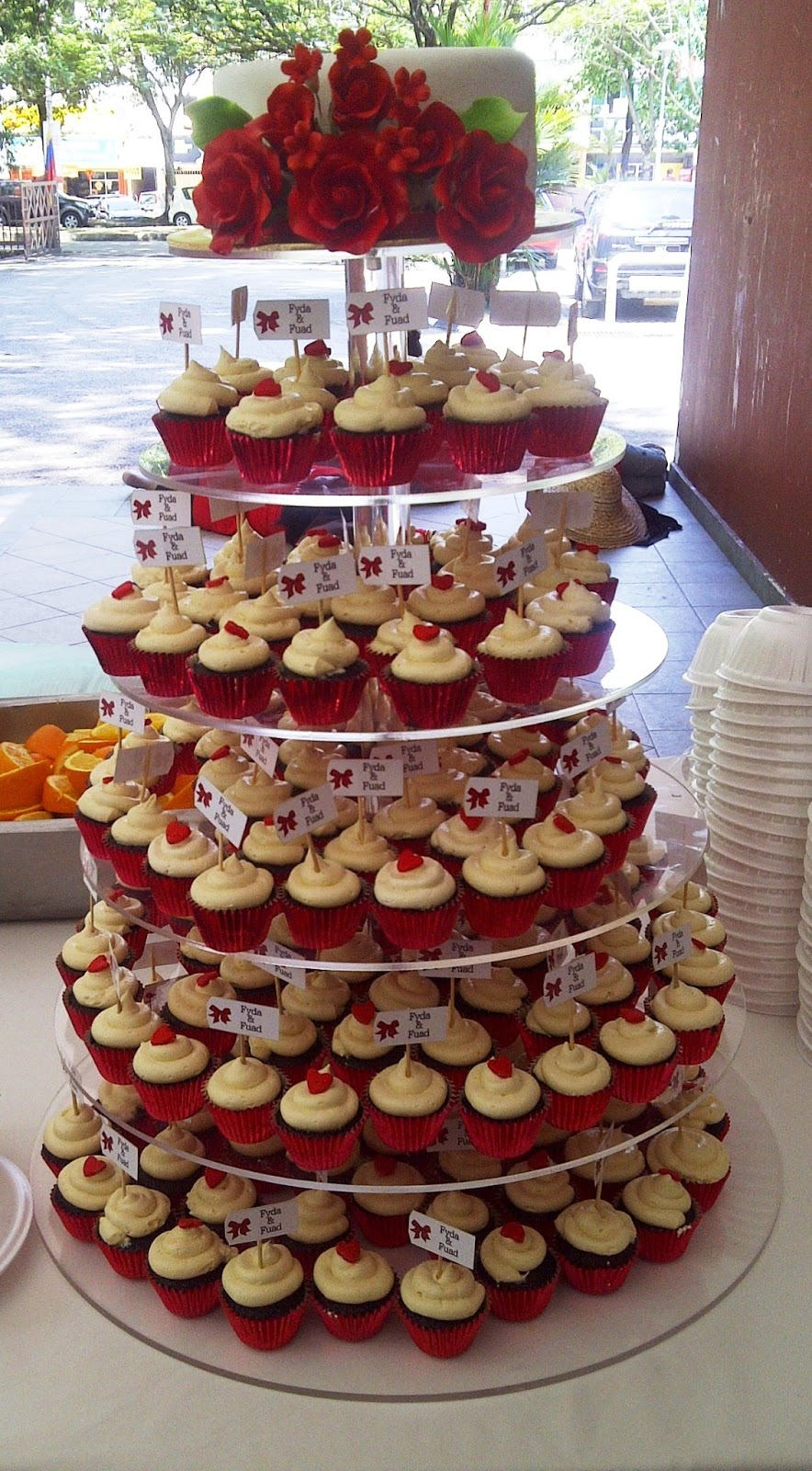 bakerlicious cupcakery red and white wedding cupcake tower