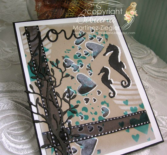 masculine card with stencils flat view