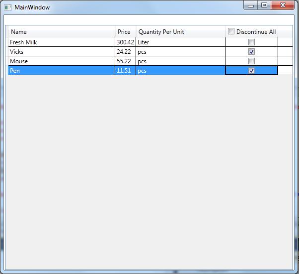 Add checkbox in wpf datagrid datagridtemplatecolumnheader for Html table column header