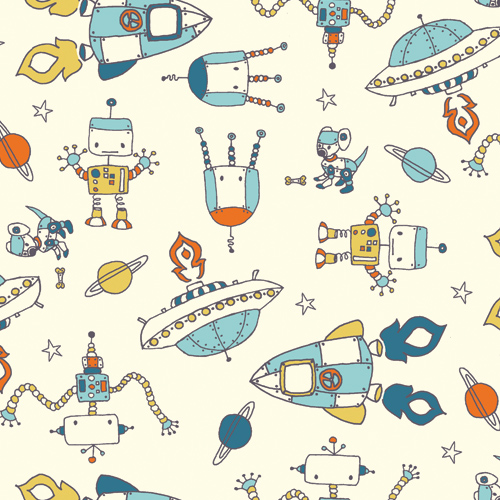 Birchfabrics robotic by rebekah ginda for birch fabrics for Retro space fabric uk