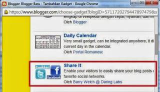 gambar Cara Menambahkan Widget Share Twitter dan Facebook Di blog