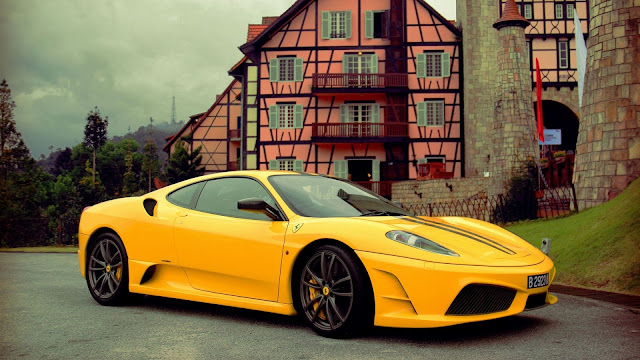 Ferrari Supercar Stopped at the Road HD Wallpaper