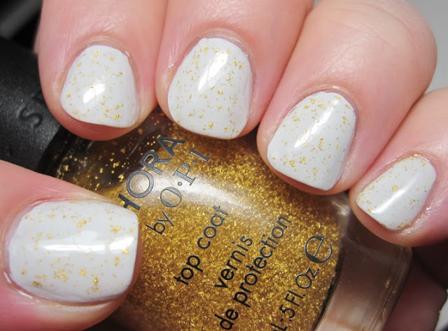 Maybelline Bare Escape with SOPI 18k gold topcoat