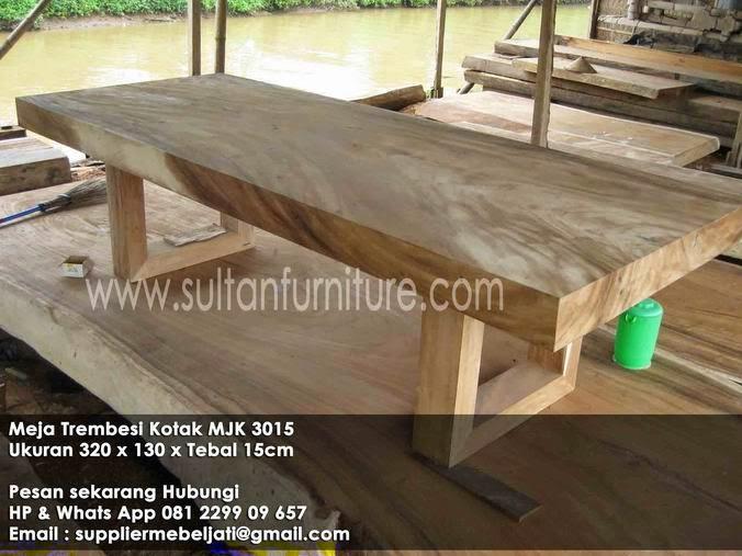 meja makan tidak natural kayu trembesi panjang 3 meter bentuk kotak blok persegi