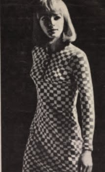 Op' Art 1966 dress 60s 1960 mod black white Optical Pierre Dostal