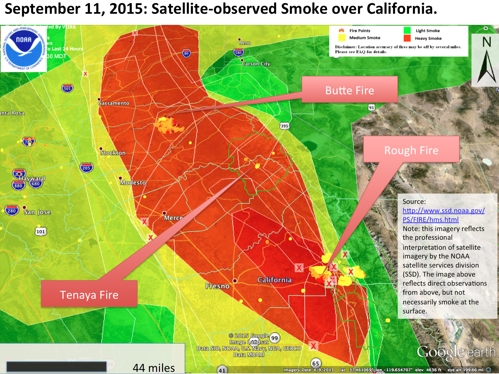 hazard mapping system analysis shows a large high density plume of smoke which joined with the plume from the rough fire to darken the skies this evening