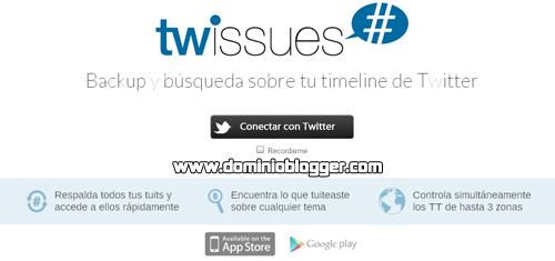 Haz un BackUp a tus tweets con Twissues online y gratis
