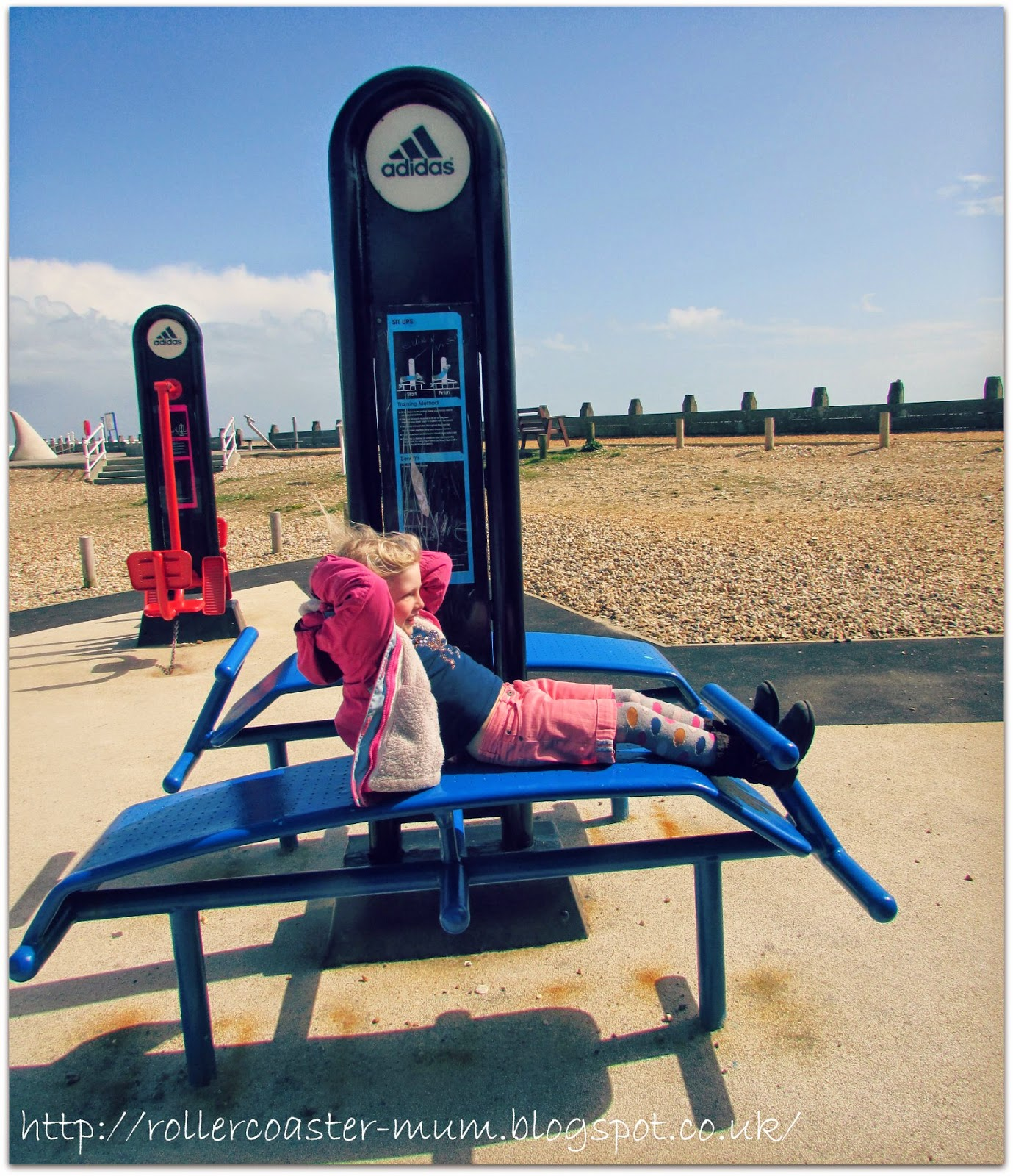 Sit ups at the outdoor gym,  Hayling Island