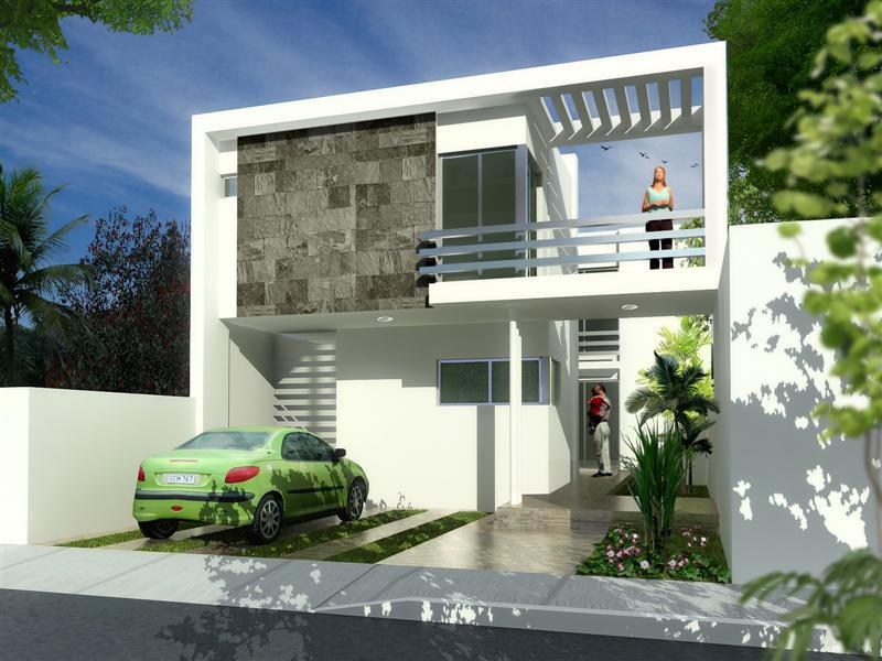 Fachadas de casas modernas fachada contempor nea y semi for Departamentos minimalistas fachadas