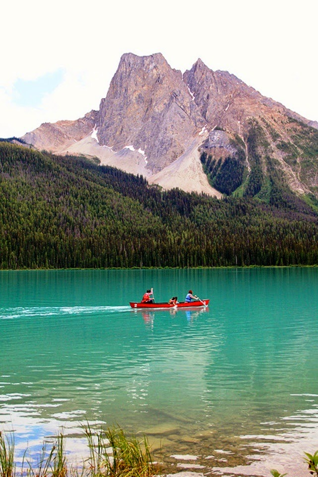 Canoeing on Emerald Lake, Yoho National Park, Canada