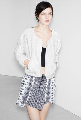 Zara trf verano 2013 lookbook falda chaqueta bomber