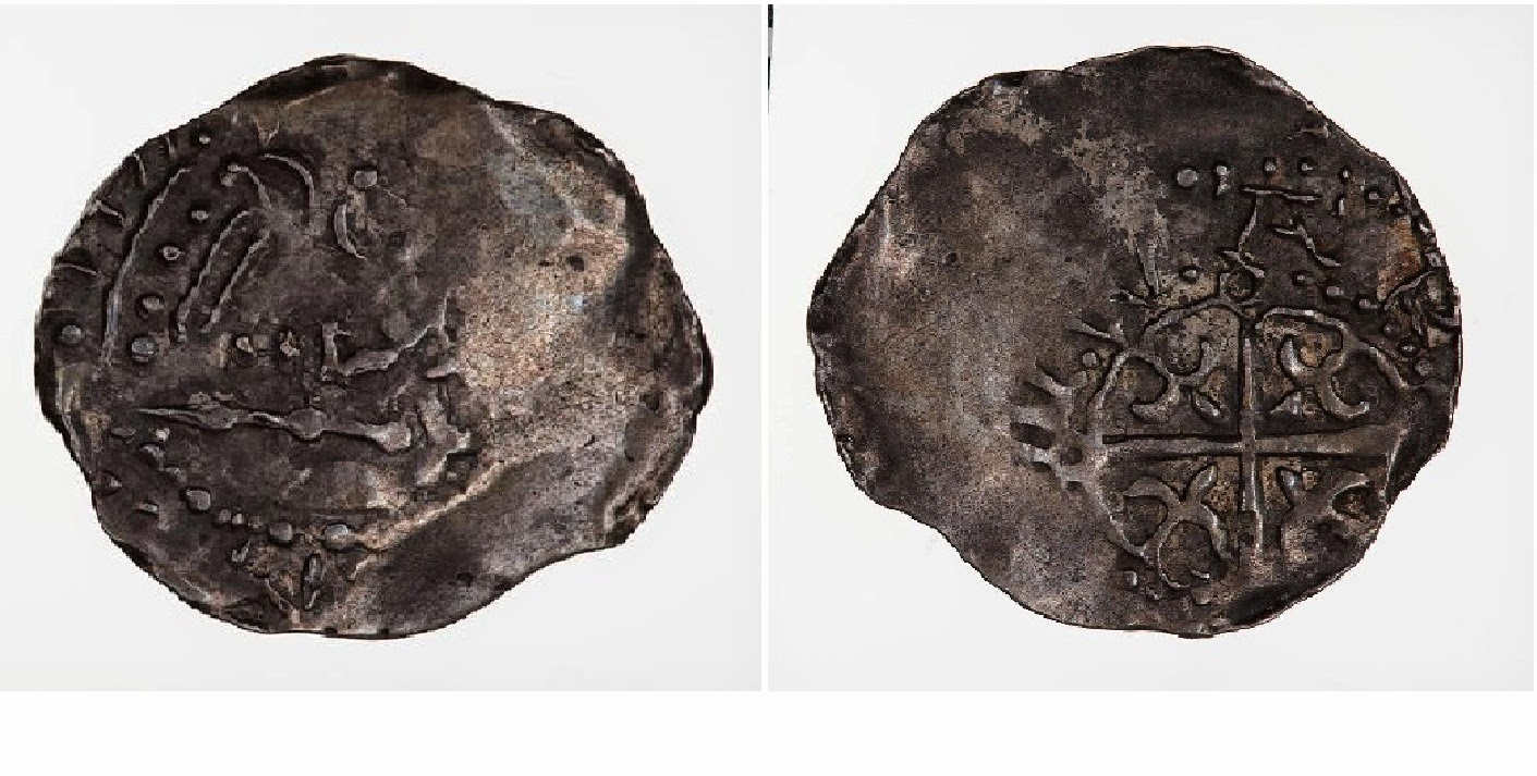 A Penny issued by: Empress Matilda 1141 AD.  Description: A crowned bust facing right with sceptre in front; Reverse Description: The reverse has a cross moline with a fleur in each angle. Material: Silver