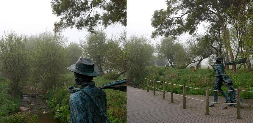 Duas fotos, lada a lado,sobre a estátua em homenagem aos pescadors de enguia. A da esquerda apanhando o contexto e a da direita um pormenor do tronco.
