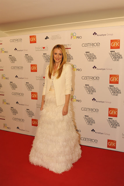 Cat Deeley in white blazer and long feathered gown