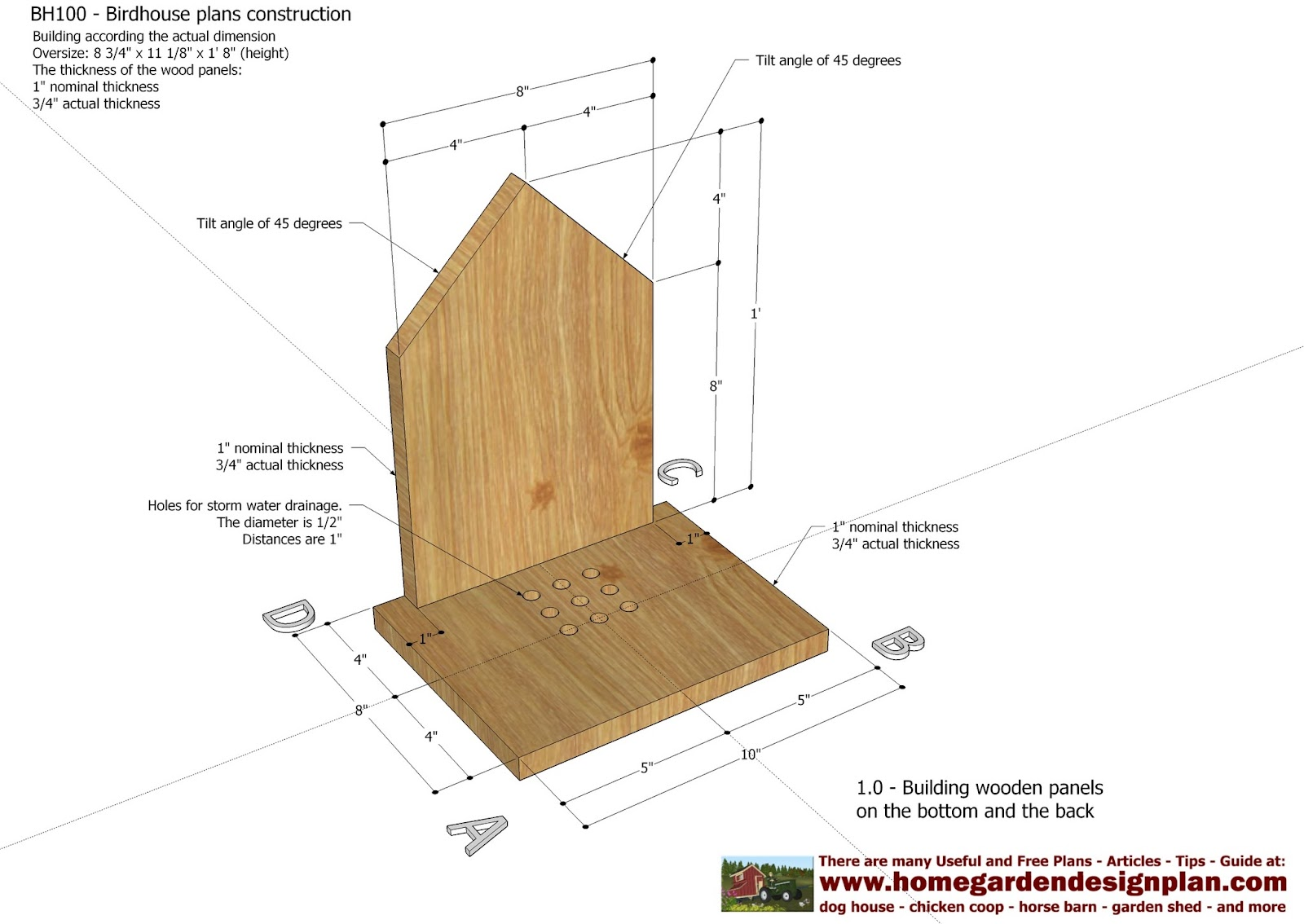 Home garden plans bh100 bird house plans construction for Home construction plans